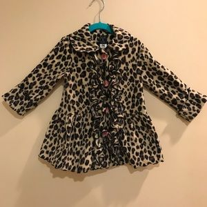 Mack & Co Toddler Girls Leopard Fleece Coat 3t